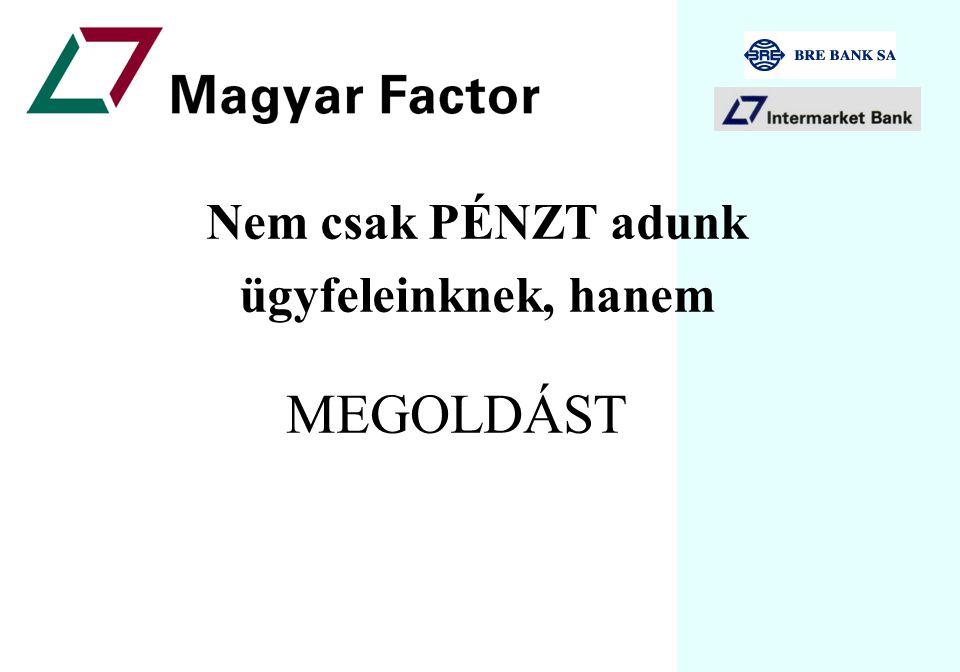 Vevőkövetelések finanszírozása Gyors, megbízható, kreatív pénzügyi megoldások a Magyar Factortól Csinos Tibor, Magyar Factor zRt III.