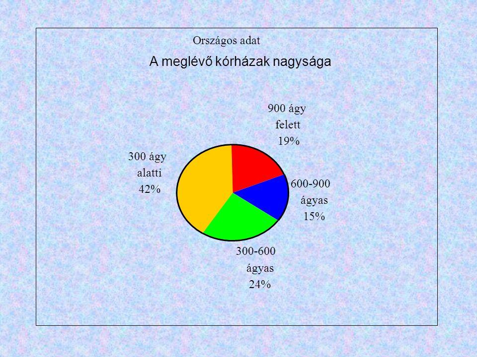 Országos adat 900 ágy felett 19% 600-900 ágyas 15% 300-600 ágyas 24% 300 ágy alatti 42% A meglévő kórházak nagysága
