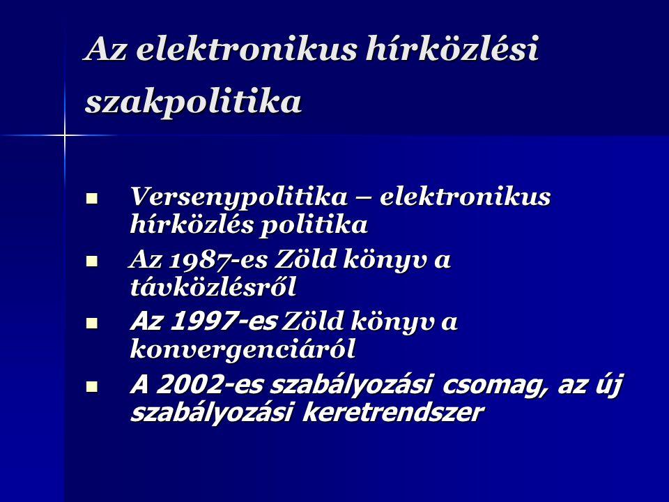 Az elektronikus hírközlési szakpolitika Versenypolitika – elektronikus hírközlés politika Versenypolitika – elektronikus hírközlés politika Az 1987-es Zöld könyv a távközlésről Az 1987-es Zöld könyv a távközlésről Az 1997-es Zöld könyv a konvergenciáról Az 1997-es Zöld könyv a konvergenciáról A 2002-es szabályozási csomag, az új szabályozási keretrendszer A 2002-es szabályozási csomag, az új szabályozási keretrendszer