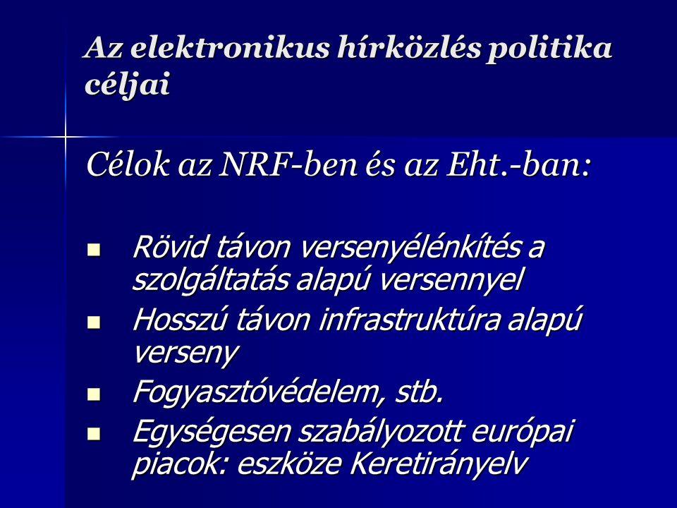 Az elektronikus hírközlés politika céljai Célok az NRF-ben és az Eht.-ban: Rövid távon versenyélénkítés a szolgáltatás alapú versennyel Rövid távon versenyélénkítés a szolgáltatás alapú versennyel Hosszú távon infrastruktúra alapú verseny Hosszú távon infrastruktúra alapú verseny Fogyasztóvédelem, stb.