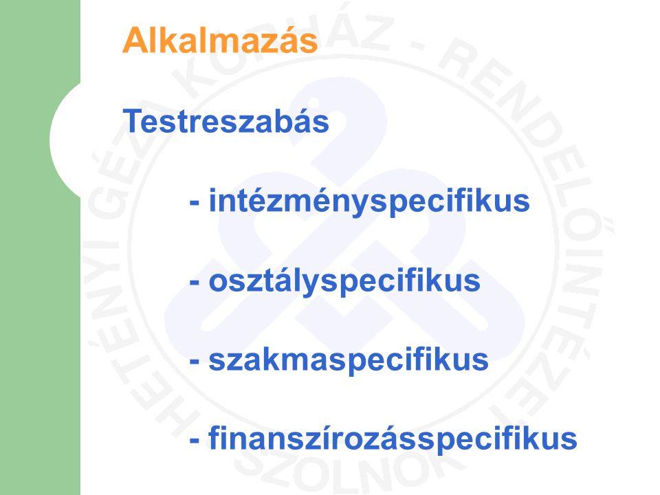 Alkalmazás Testreszabás - intézményspecifikus - osztályspecifikus - szakmaspecifikus - finanszírozásspecifikus
