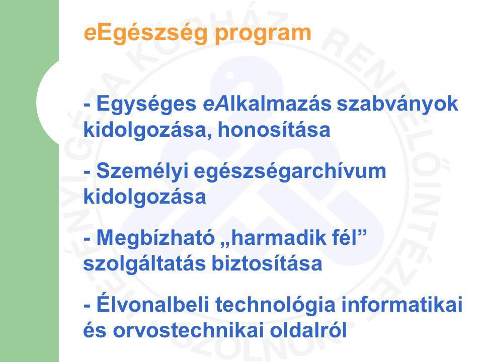 """eEgészség program - Egységes eAlkalmazás szabványok kidolgozása, honosítása - Személyi egészségarchívum kidolgozása - Megbízható """"harmadik fél"""" szolgá"""