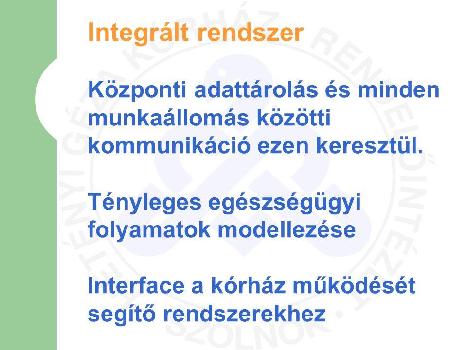Integrált rendszer Központi adattárolás és minden munkaállomás közötti kommunikáció ezen keresztül. Tényleges egészségügyi folyamatok modellezése Inte