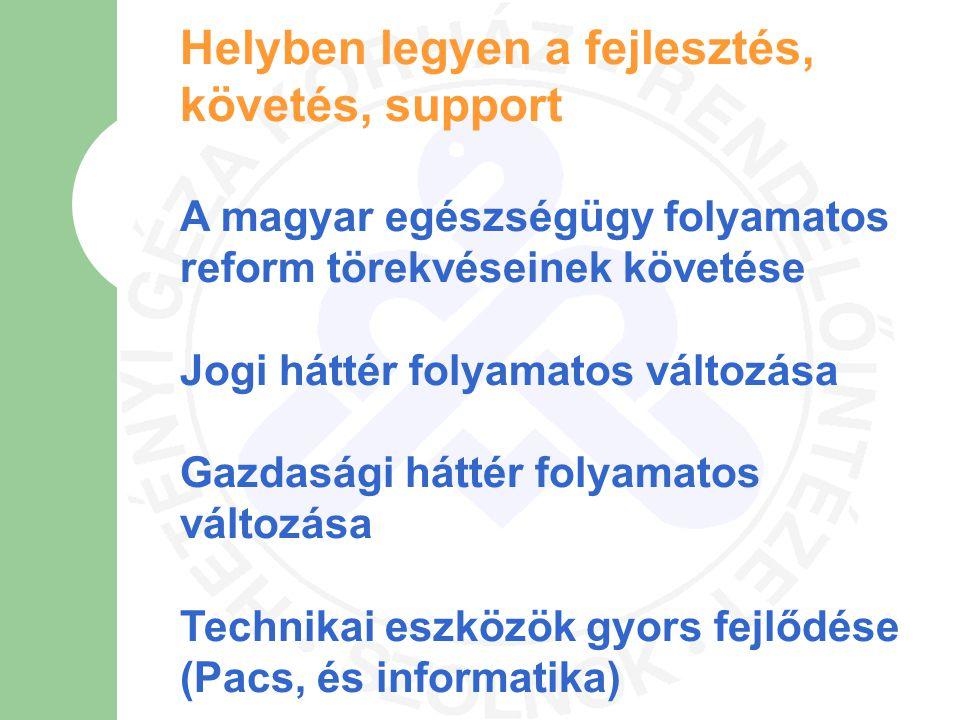 Helyben legyen a fejlesztés, követés, support A magyar egészségügy folyamatos reform törekvéseinek követése Jogi háttér folyamatos változása Gazdasági