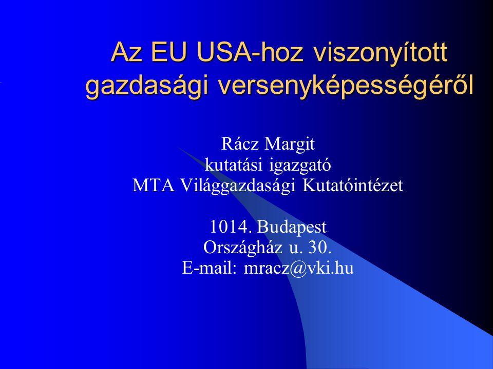 Az EU USA-hoz viszonyított gazdasági versenyképességéről Rácz Margit kutatási igazgató MTA Világgazdasági Kutatóintézet 1014.
