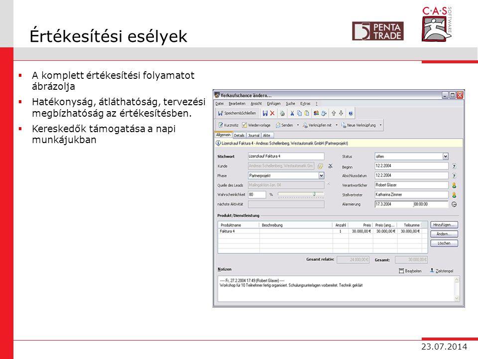 23.07.2014 Értékesítési esélyek  A komplett értékesítési folyamatot ábrázolja  Hatékonyság, átláthatóság, tervezési megbízhatóság az értékesítésben.