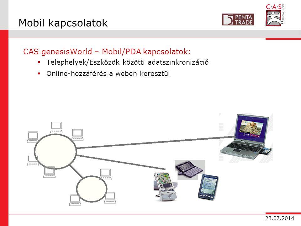 23.07.2014 Mobil kapcsolatok CAS genesisWorld – Mobil/PDA kapcsolatok:  Telephelyek/Eszközök közötti adatszinkronizáció  Online-hozzáférés a weben keresztül