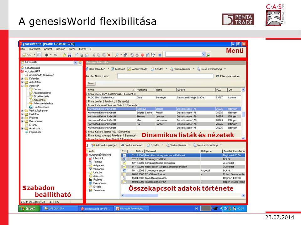 23.07.2014 A genesisWorld flexibilitása Menü Szabadon beállítható Összekapcsolt adatok története Dinamikus listák és nézetek