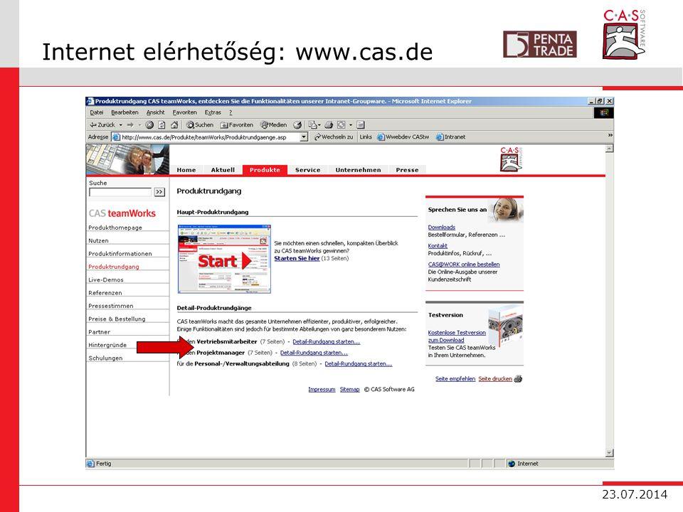 23.07.2014 Internet elérhetőség: www.cas.de