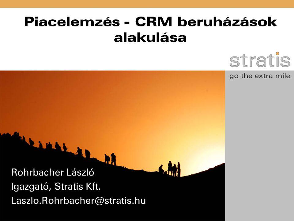 Piacelemzés - CRM beruházások alakulása Rohrbacher László Igazgató, Stratis Kft. Laszlo.Rohrbacher@stratis.hu