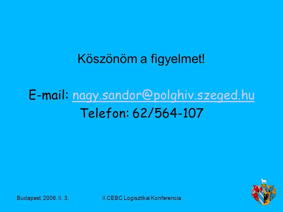 Budapest, 2006. II. 3.II.CEBC Logisztikai Konferencia Köszönöm a figyelmet.