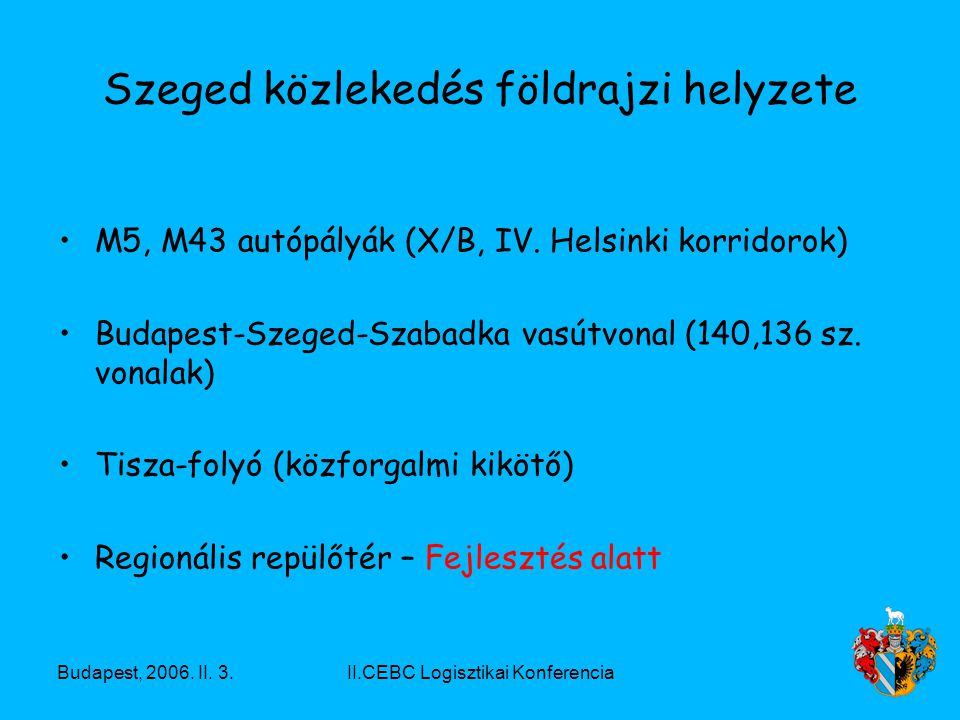 Budapest, 2006. II. 3.II.CEBC Logisztikai Konferencia