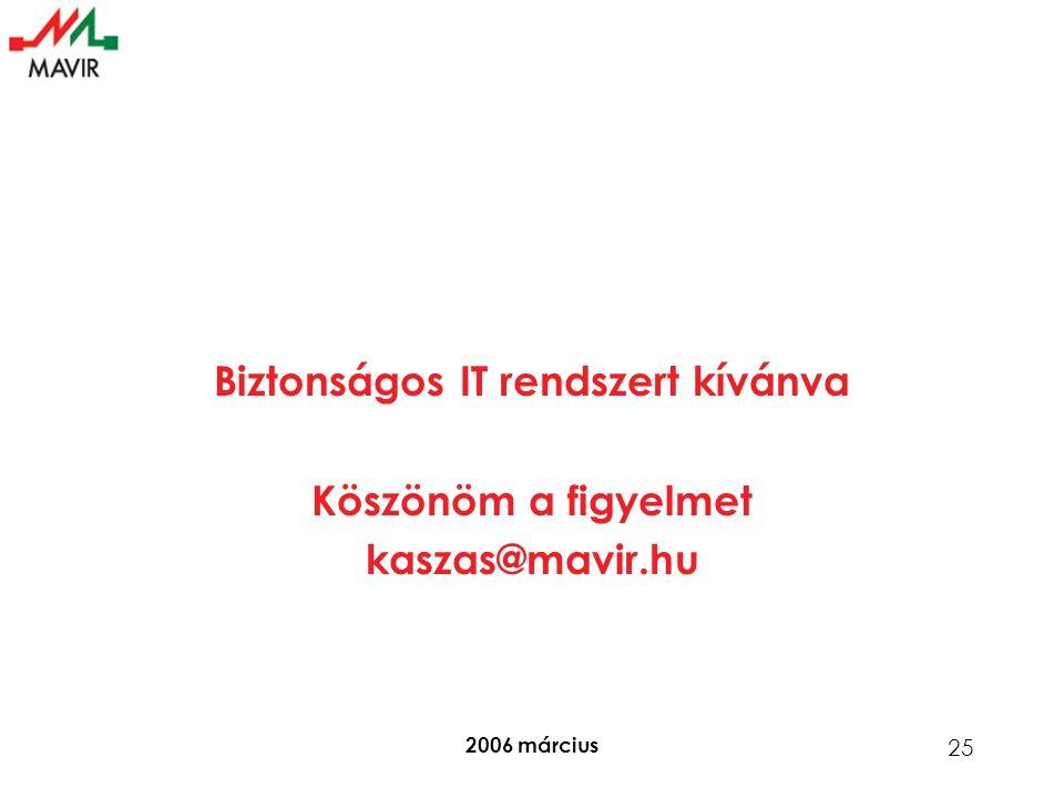 2006 március 25 Biztonságos IT rendszert kívánva Köszönöm a figyelmet kaszas@mavir.hu