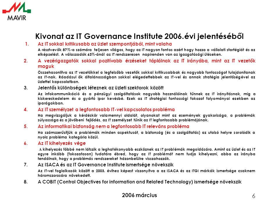 2006 március 6 Kivonat az IT Governance Institute 2006.évi jelentéséből 1.Az IT sokkal kritikusabb az üzlet szempontjából, mint valaha A résztvevők 87%-a számára teljesen világos, hogy az IT nagyon fontos azért hogy hozza a vállalati startégiát és az elképzelést.