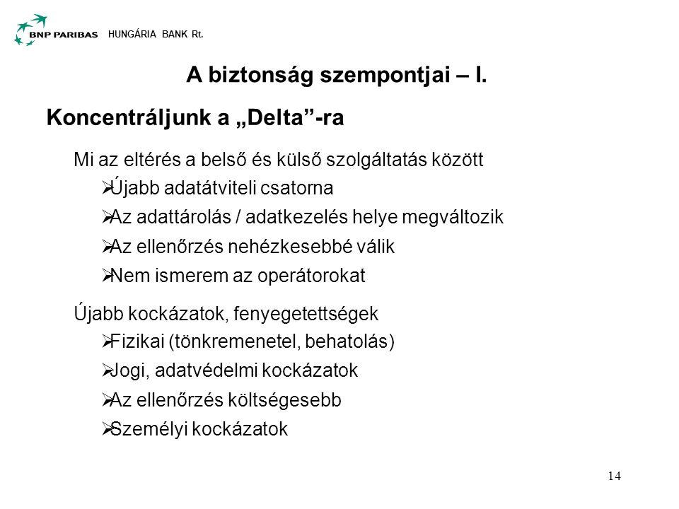 """HUNGÁRIA BANK Rt. 14 A biztonság szempontjai – I. Koncentráljunk a """"Delta""""-ra Mi az eltérés a belső és külső szolgáltatás között  Újabb adatátviteli"""