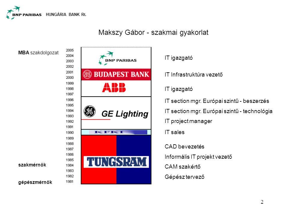 HUNGÁRIA BANK Rt. 2 Makszy Gábor - szakmai gyakorlat CAD bevezetés Informális IT projekt vezető CAM szakértő Gépész tervező IT sales IT section mgr. E