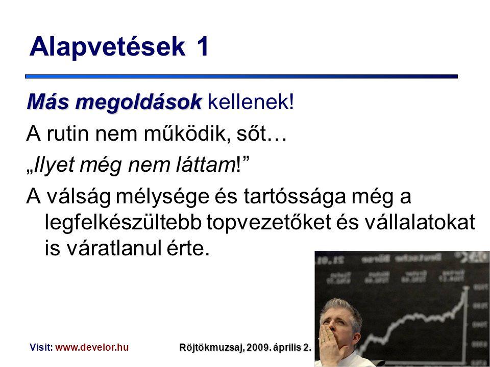 """Visit: www.develor.huRöjtökmuzsaj, 2009. április 2. Alapvetések 1 Másmegoldások Más megoldások kellenek! A rutin nem működik, sőt… """"Ilyet még nem látt"""