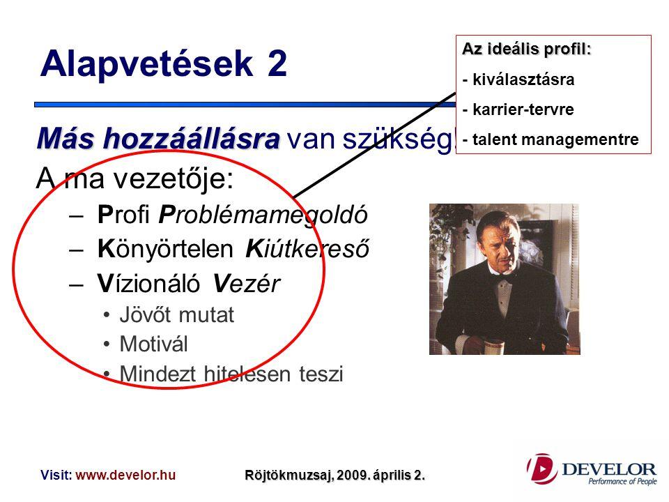 Visit: www.develor.huRöjtökmuzsaj, 2009. április 2. Alapvetések 2 Máshozzáállásra Más hozzáállásra van szükség! A ma vezetője: – Profi Problémamegoldó
