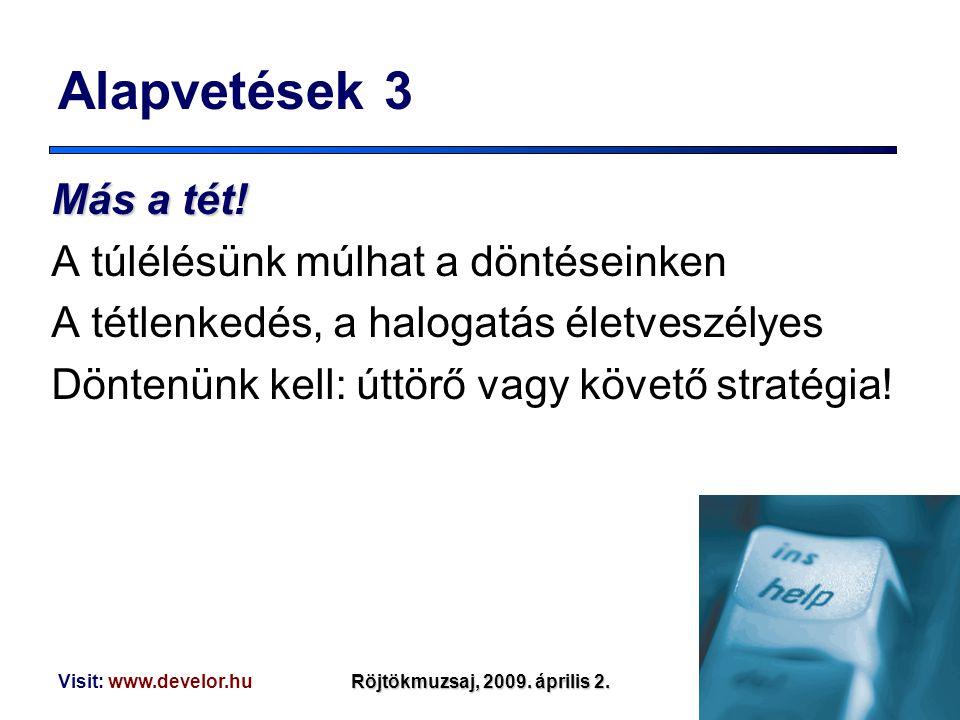 Visit: www.develor.huRöjtökmuzsaj, 2009. április 2. Alapvetések 3 Mása tét! Más a tét! A túlélésünk múlhat a döntéseinken A tétlenkedés, a halogatás é