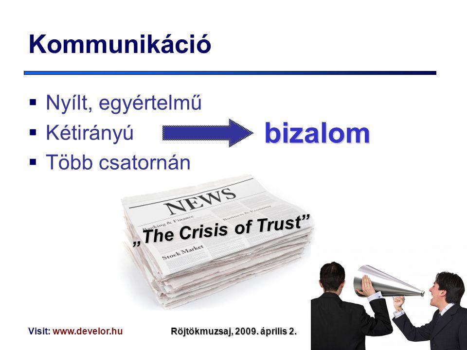 """Visit: www.develor.huRöjtökmuzsaj, 2009. április 2. """"The Crisis of Trust"""" Kommunikáció  Nyílt, egyértelmű  Kétirányú  Több csatornán bizalom"""