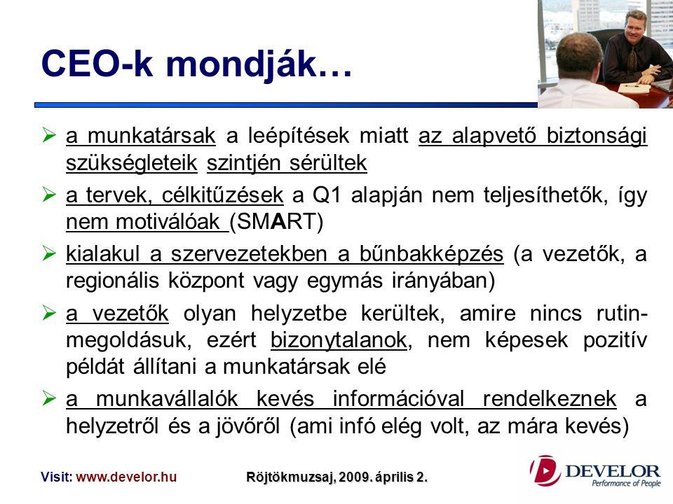Visit: www.develor.huRöjtökmuzsaj, 2009. április 2. CEO-k mondják…  a munkatársak a leépítések miatt az alapvető biztonsági szükségleteik szintjén sé