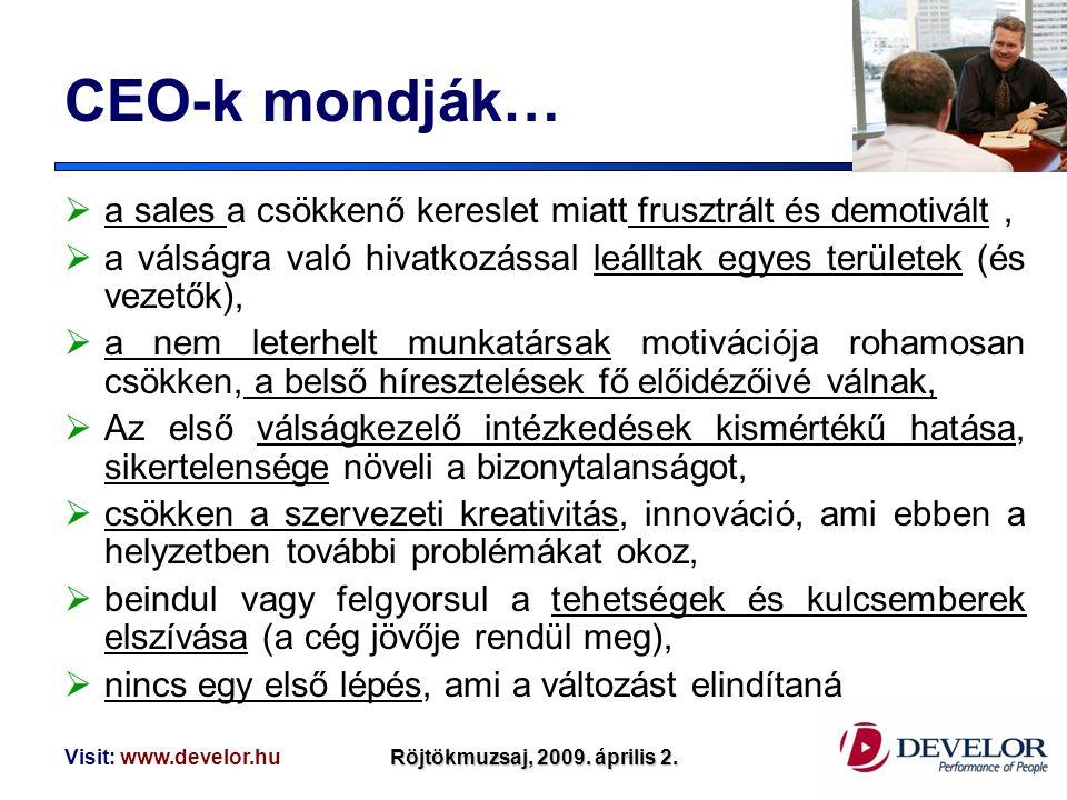 Visit: www.develor.huRöjtökmuzsaj, 2009. április 2. CEO-k mondják…  a sales a csökkenő kereslet miatt frusztrált és demotivált,  a válságra való hiv