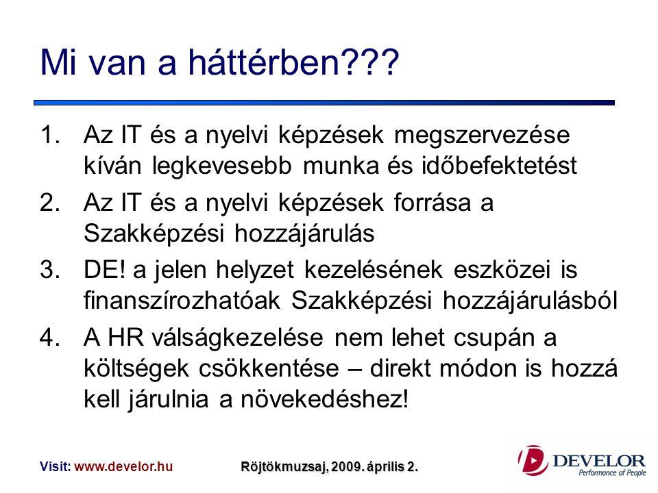 Visit: www.develor.huRöjtökmuzsaj, 2009. április 2. Mi van a háttérben??? 1.Az IT és a nyelvi képzések megszervezése kíván legkevesebb munka és időbef