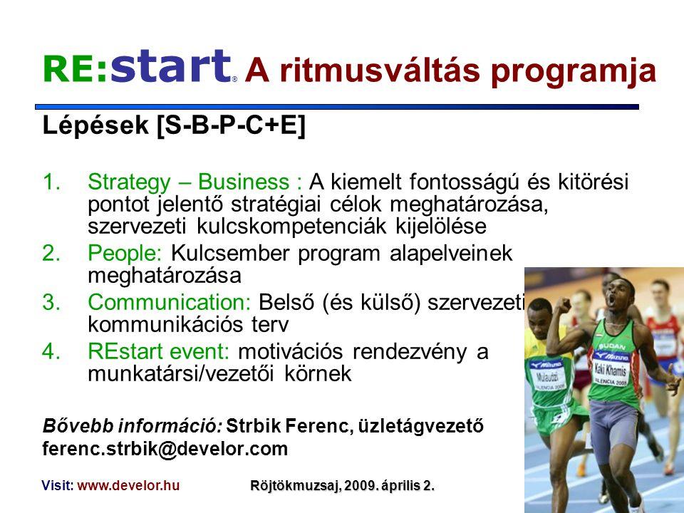 Visit: www.develor.huRöjtökmuzsaj, 2009. április 2. RE: start ® A ritmusváltás programja Lépések [S-B-P-C+E] 1.Strategy – Business : A kiemelt fontoss
