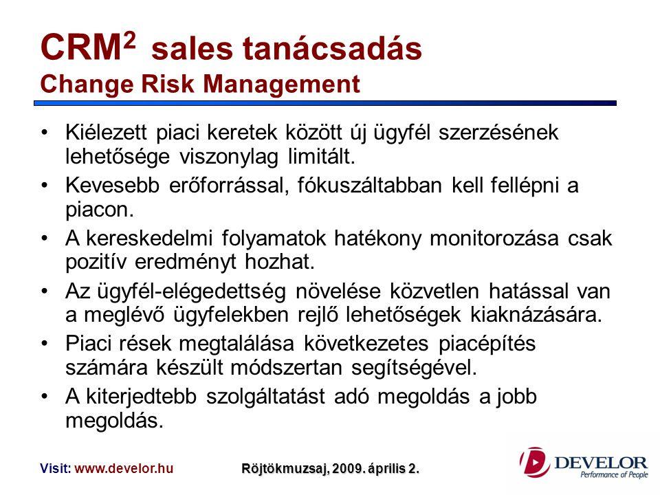 Visit: www.develor.huRöjtökmuzsaj, 2009. április 2. CRM 2 sales tanácsadás Change Risk Management Kiélezett piaci keretek között új ügyfél szerzésének