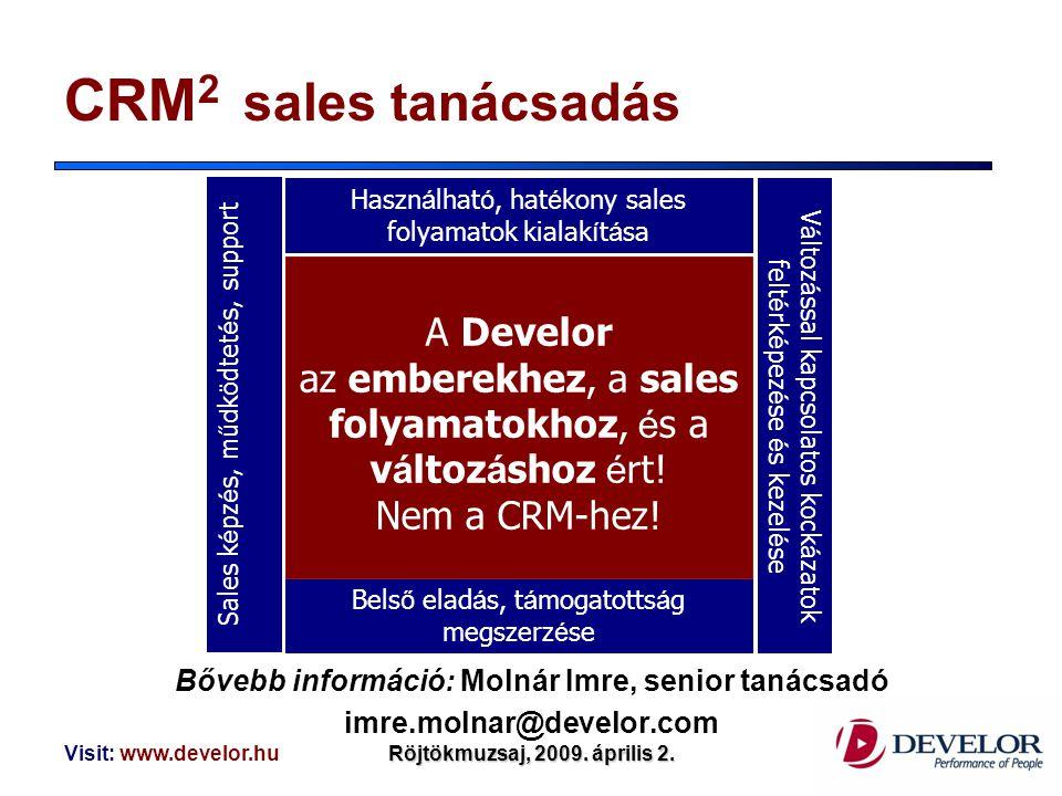 Visit: www.develor.huRöjtökmuzsaj, 2009. április 2. CRM 2 sales tanácsadás Bővebb információ: Molnár Imre, senior tanácsadó imre.molnar@develor.com A