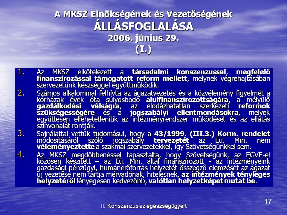 17 II. Konszenzus az egészségügyért A MKSZ Elnökségének és Vezetőségének ÁLLÁSFOGLALÁSA 2006. június 29. (I.) 1. Az MKSZ elkötelezett a társadalmi kon