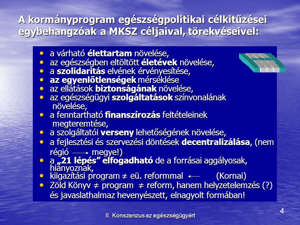4 II. Konszenzus az egészségügyért A kormányprogram egészségpolitikai célkitűzései egybehangzóak a MKSZ céljaival, törekvéseivel: a várható élettartam