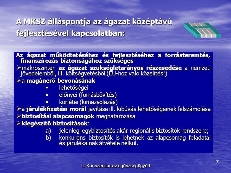 7 II. Konszenzus az egészségügyért A MKSZ álláspontja az ágazat középtávú fejlesztésével kapcsolatban: Az ágazat működtetéséhez és fejlesztéséhez a fo