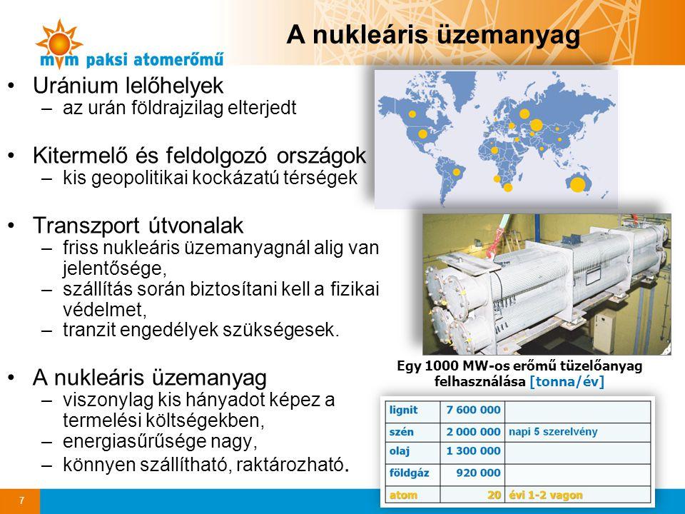 A nukleáris üzemanyag Uránium lelőhelyek –az urán földrajzilag elterjedt Kitermelő és feldolgozó országok –kis geopolitikai kockázatú térségek Transzp