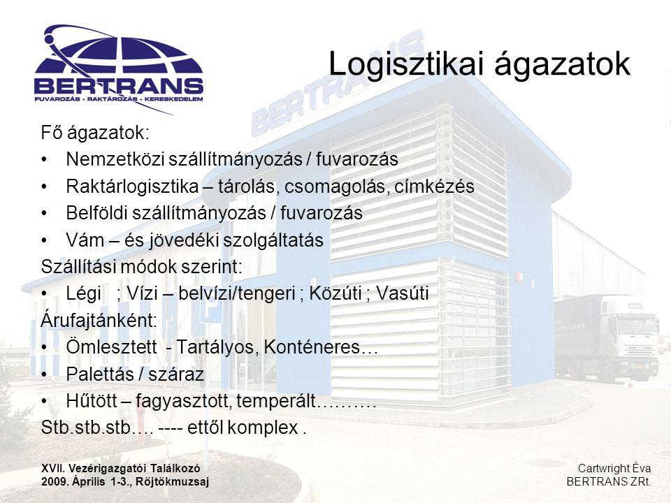 Hazai logisztikai szereplők Multinacionális cégek – DHL, Kühne&Nagel, GEFCO Hagyományos, nagy magyar speditőrcégek és utódaik – Waberer's (Volán Tefu + Hungarocamion ), MASPED, MAHART, GYSEV, MÁV leányok Regionális, magyar tulajdonú szolgáltatók ( Transped Debrecen, Bertrans Kecskemét, Révész Nyíregyháza, Szemerey Miskolc) Speciális cégek ( HOPI, Eurogate, Toyota TSUSHO ) XVII.