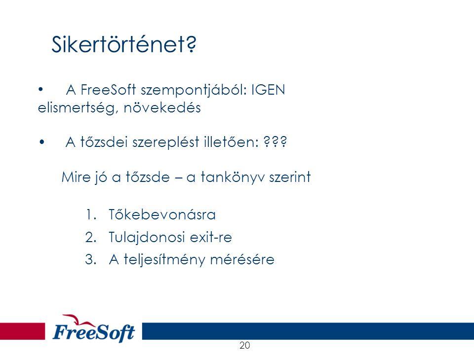 21.08.2001 20 A FreeSoft szempontjából: IGEN elismertség, növekedés A tőzsdei szereplést illetően: ??? Mire jó a tőzsde – a tankönyv szerint 1.Tőkebev