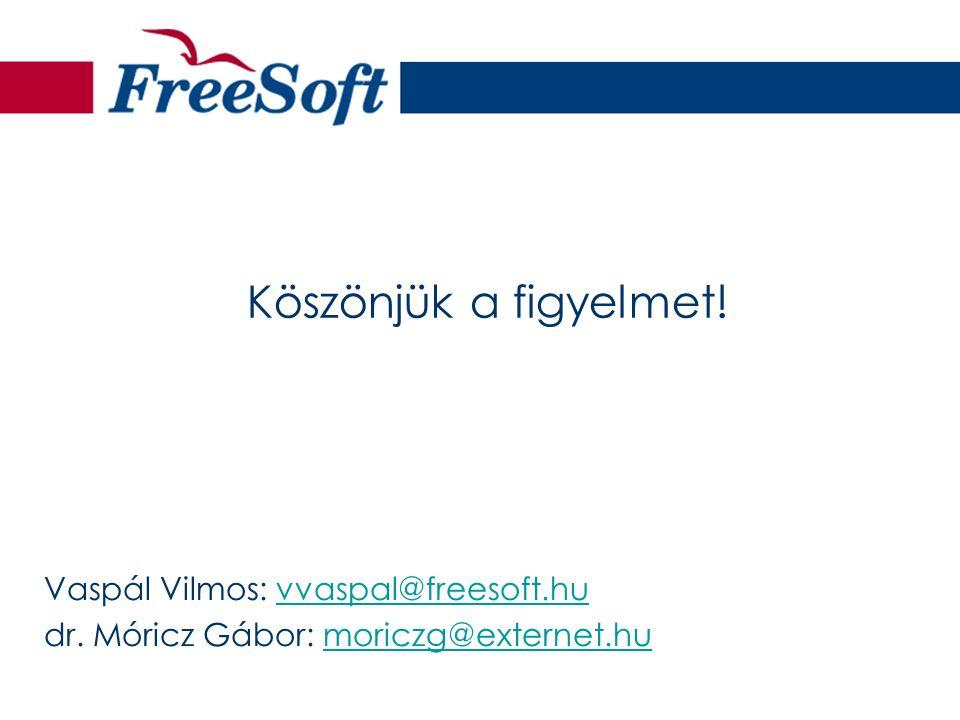 Köszönjük a figyelmet! Vaspál Vilmos: vvaspal@freesoft.huvvaspal@freesoft.hu dr. Móricz Gábor: moriczg@externet.humoriczg@externet.hu