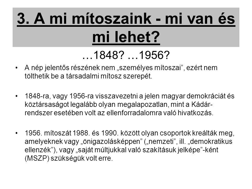 3. A mi mítoszaink - mi van és mi lehet. …1848. …1956.