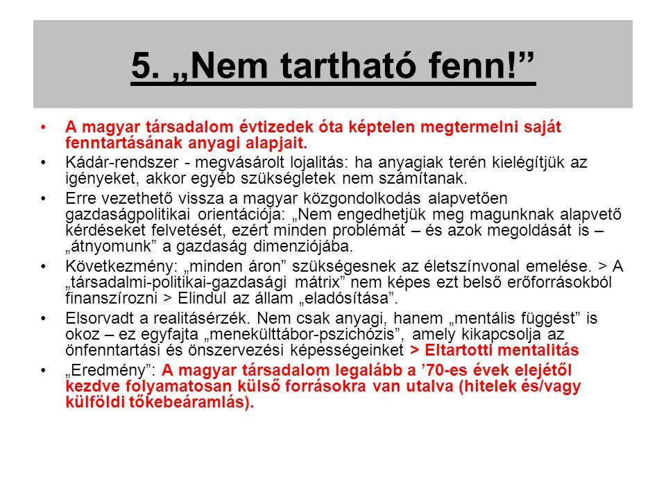 """5. """"Nem tartható fenn!"""" A magyar társadalom évtizedek óta képtelen megtermelni saját fenntartásának anyagi alapjait. Kádár-rendszer - megvásárolt loja"""