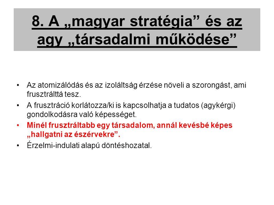 """8. A """"magyar stratégia"""" és az agy """"társadalmi működése"""" Az atomizálódás és az izoláltság érzése növeli a szorongást, ami frusztrálttá tesz. A frusztrá"""