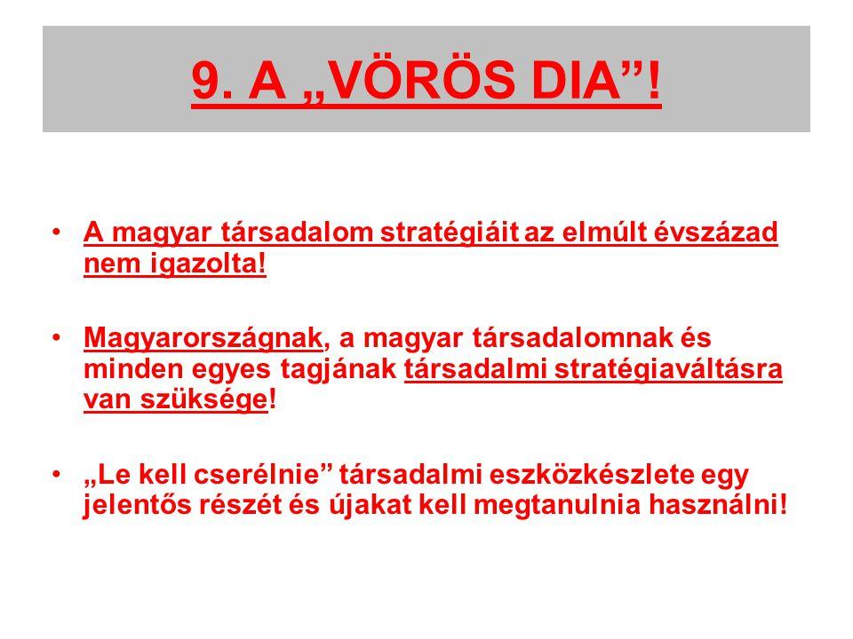 """9. A """"VÖRÖS DIA . A magyar társadalom stratégiáit az elmúlt évszázad nem igazolta."""
