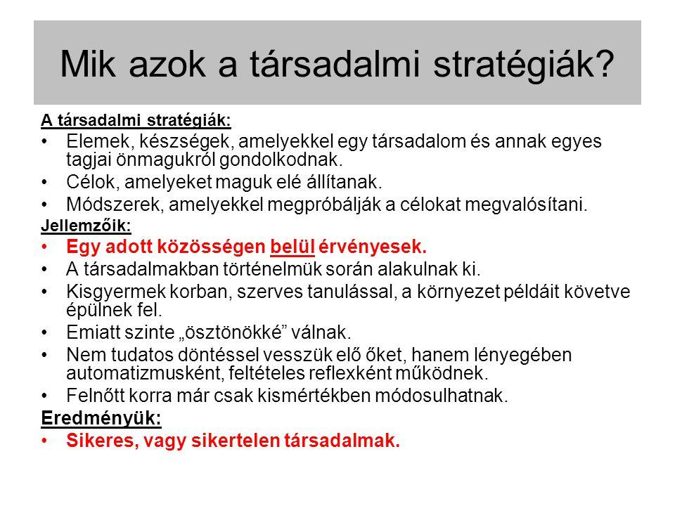 A társadalmi stratégiák: Elemek, készségek, amelyekkel egy társadalom és annak egyes tagjai önmagukról gondolkodnak.
