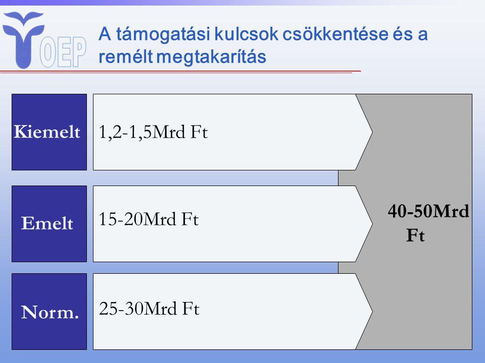 A támogatási kulcsok csökkentése és a remélt megtakarítás Kiemelt Emelt 1,2-1,5Mrd Ft 15-20Mrd Ft 40-50Mrd Ft Norm.
