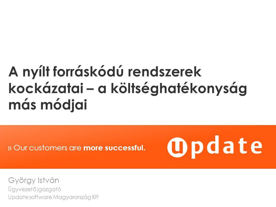 copyright © 2011 | update software AG | 7/23/2014 2 A prezentáció célja, hogy általánosságban felhívja a figyelmet a nyílt forráskódú rendszerekkel kapcsolatos kockázatokra, az előadás nem foglalkozik konkrét gyártókkal vagy azok termékeivel.