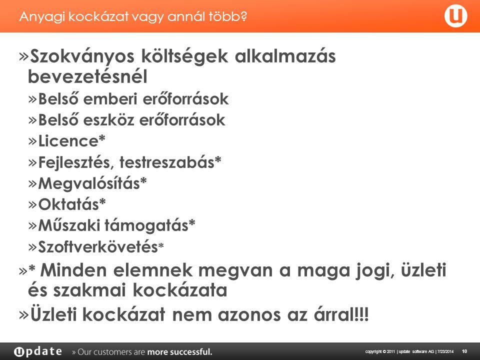 copyright © 2011 | update software AG | 7/23/2014 10 Anyagi kockázat vagy annál több.