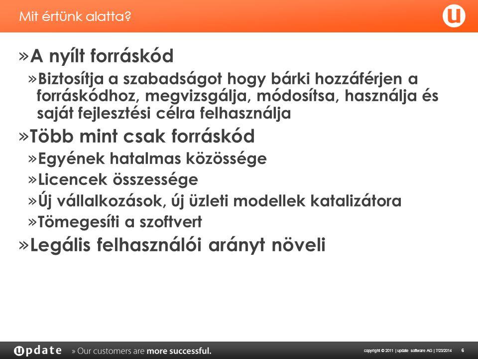 copyright © 2011 | update software AG | 7/23/2014 7 Jogi kockázatok 1 » Copyleft » Az ügyfél kockázata » Szellemi tulajodon megsértése harmadik féllel szemben » Nincs szerződéses védelem a végfelhasználó számára » Nincs szerződéses védelem károkozás esetén (pl.