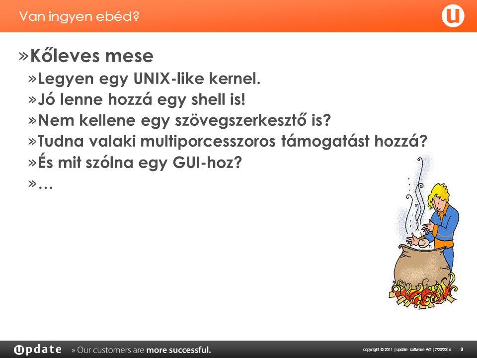 copyright © 2011 | update software AG | 7/23/2014 9 Van ingyen ebéd? » Kőleves mese » Legyen egy UNIX-like kernel. » Jó lenne hozzá egy shell is! » Ne