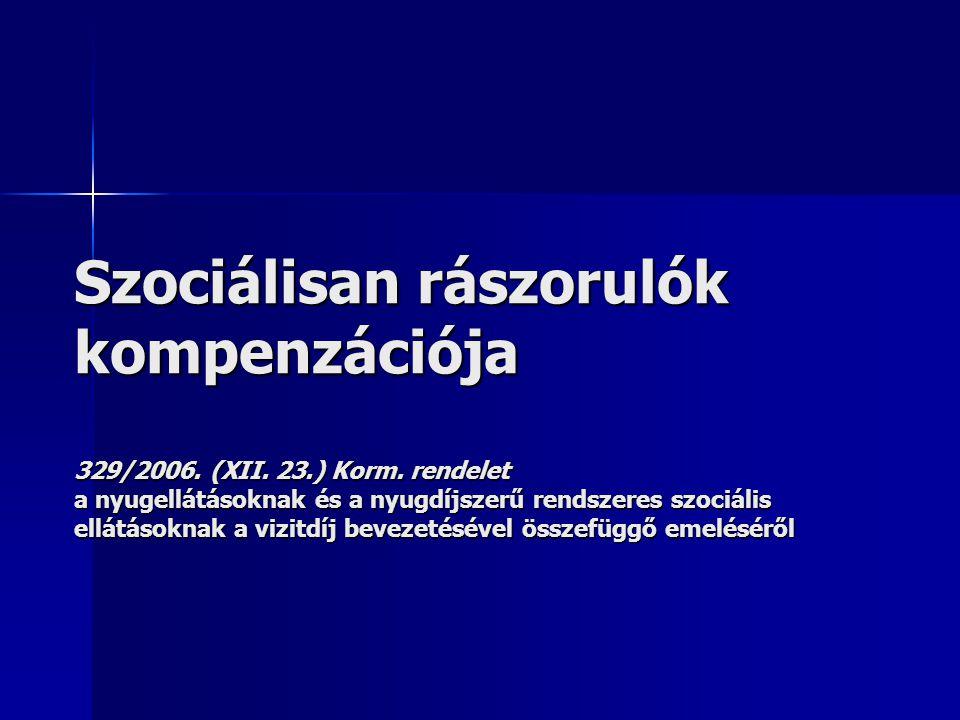 Szociálisan rászorulók kompenzációja 329/2006. (XII. 23.) Korm. rendelet a nyugellátásoknak és a nyugdíjszerű rendszeres szociális ellátásoknak a vizi