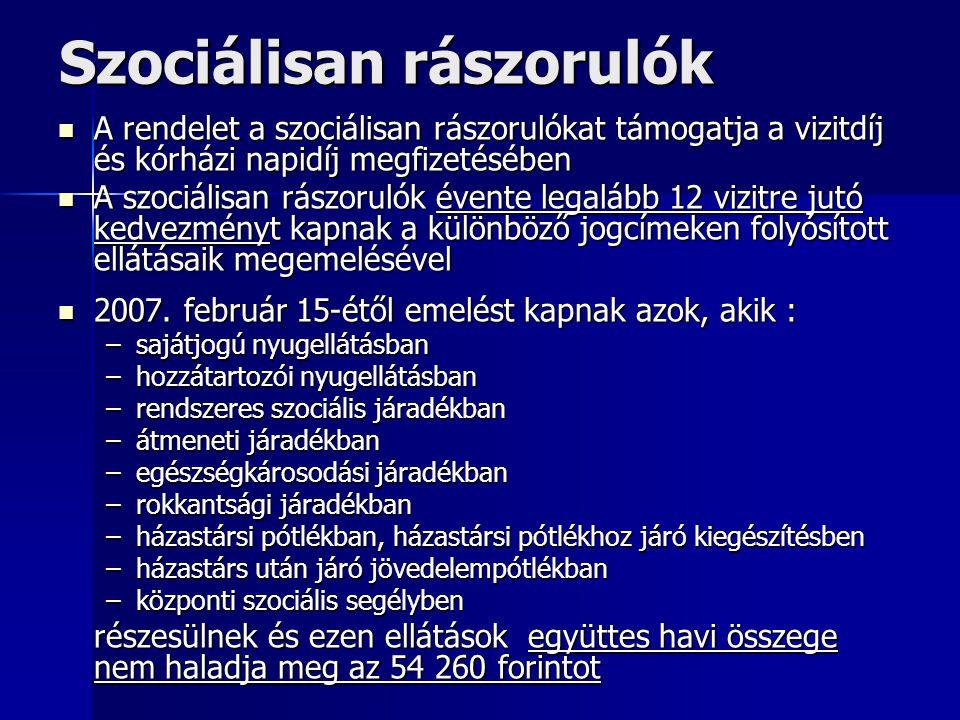 Szociálisan rászorulók A rendelet a szociálisan rászorulókat támogatja a vizitdíj és kórházi napidíj megfizetésében A rendelet a szociálisan rászoruló
