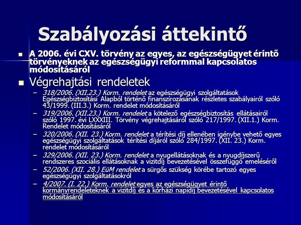 Szabályozási áttekintő A 2006. évi CXV. törvény az egyes, az egészségügyet érintő törvényeknek az egészségügyi reformmal kapcsolatos módosításáról A 2